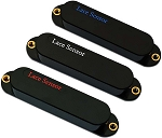 Lace 21063 Blue/Silver/Red Single Coil Guitar 3 Pickup Set, Black Covers