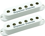 Seymour Duncan Set of 2 Pickup Covers for Strat Single Coil Pickups, White with Logo