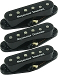 Seymour Duncan SSL-1 Vintage Staggered 3 Pickup Calibrated Set for Strat, Black with Logo Covers