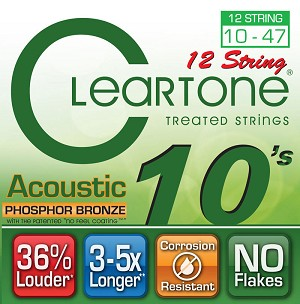 ClearTone 7410-12 Micro-Treated Phosphor Bronze Light 12-String Guitar Strings .010-.047