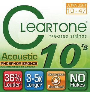 ClearTone 7410 Micro-Treated Phosphor Bronze Ultra Light Guitar Strings .010-.047