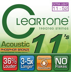 ClearTone 7411 Micro-Treated Phosphor Bronze Extra Light Guitar Strings 11-52