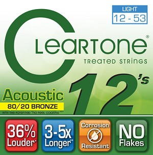 ClearTone 7612 80/20 EMP Coated Bronze Acoustic Guitar Strings, Light .012-.053