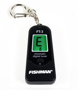 Fishman FT-3 Chromatic Keychain Guitar/Bass/Ukulele Tuner w/Mic, 2 Color Display