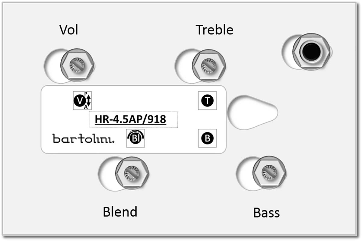 Stacked Bass//Treble Bartolini HR-2.2AP Prewired Active Bass EQ w//Volume