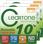 THREE SETS: ClearTone 7410 Micro-Treated Phosphor Bronze Ultra Light Guitar Strings .010-.047
