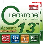TWO SETS: ClearTone 7413 Micro-Treated Phosphor Bronze Medium Guitar Strings .013-.056