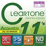 ClearTone 7611 80/20 EMP Coated Bronze Acoustic Guitar Strings Custom Light .011-.052, NOS