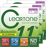 THREE SETS: ClearTone 7611 80/20 EMP Coated Bronze Acoustic Guitar Strings Custom Light .011-.052
