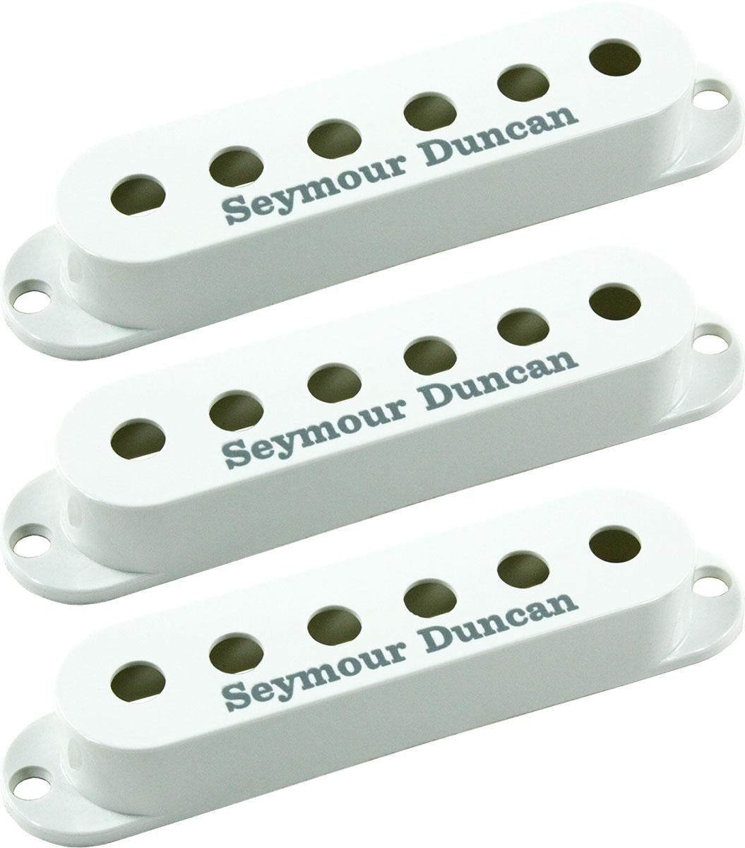 set of 3 seymour duncan strat single coil pickup covers white w logo new 800315010714 ebay. Black Bedroom Furniture Sets. Home Design Ideas