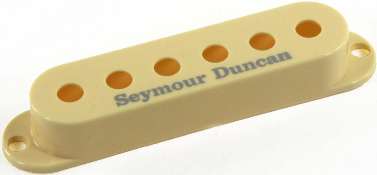 seymour duncan pickup cover for strat single coil pickups cream with logo new ebay. Black Bedroom Furniture Sets. Home Design Ideas