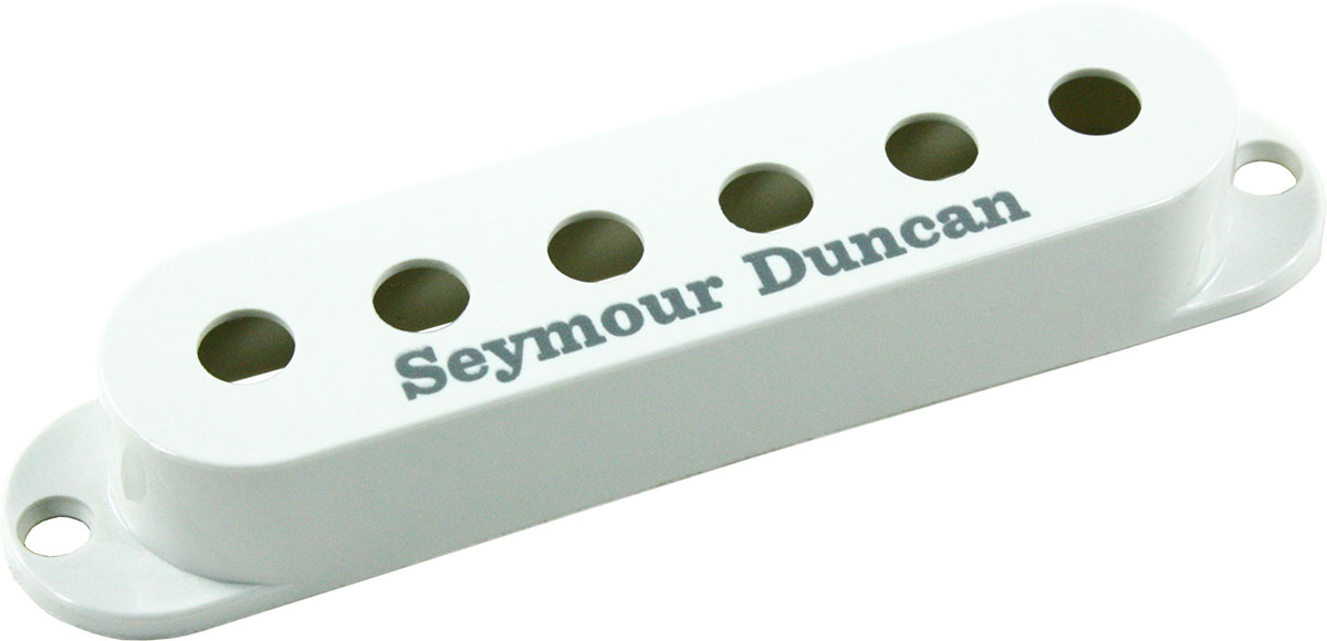 seymour duncan pickup cover for strat single coil pickups white with logo new ebay. Black Bedroom Furniture Sets. Home Design Ideas