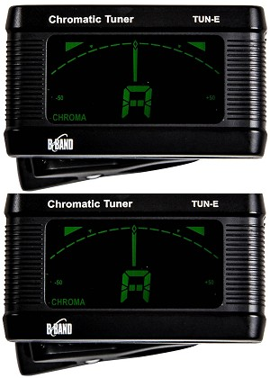 TWO (2) B-Band Clip-on Automatic Chromatic Tuners for Guitar, Bass and Ukulele