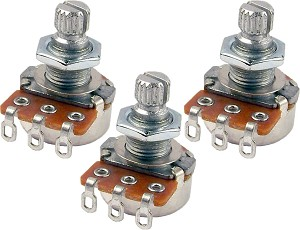 THREE Mighty Mite MM701 Control Potentiometer 250K Linear (Tone) Short Shaft Mini-Pots