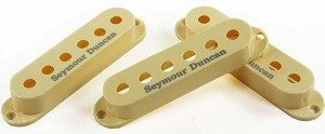 Seymour Duncan Set of 3 Pickup Covers for Strat Single Coil Pickups, Cream with Logo