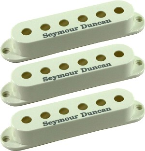 Seymour Duncan Set of 3 Pickup Covers for Strat Single Coil Pickups, Parchment with Logo