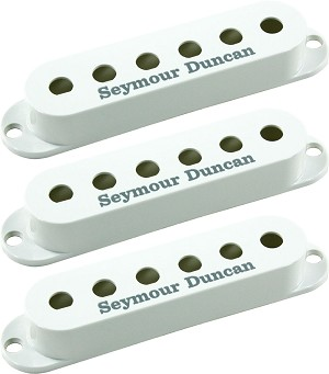 Seymour Duncan Set of 3 Pickup Covers for Strat Single Coil Pickups, White with Logo